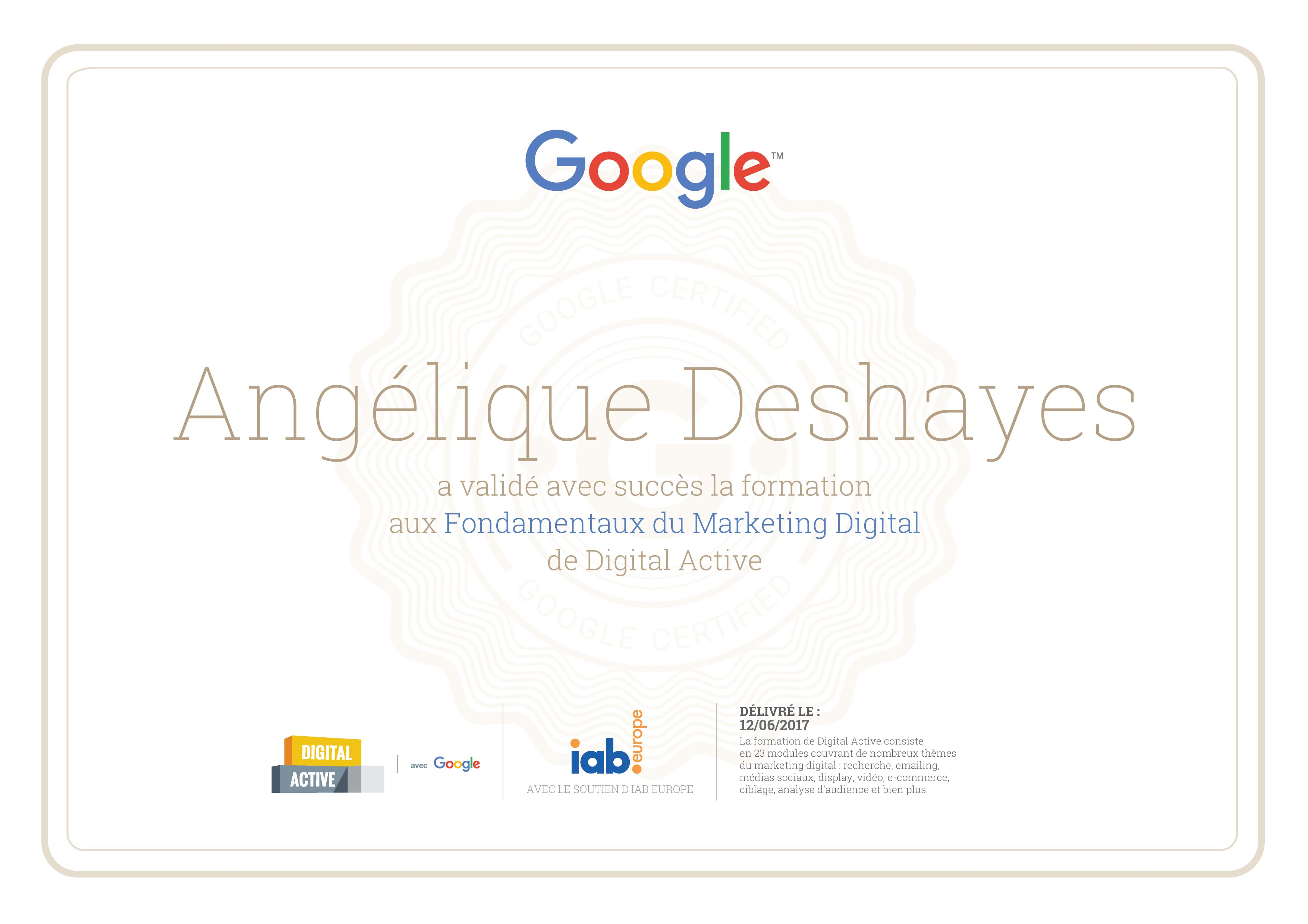 Certification Digital Active Google