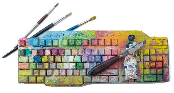 créativité digital art clavier peinture