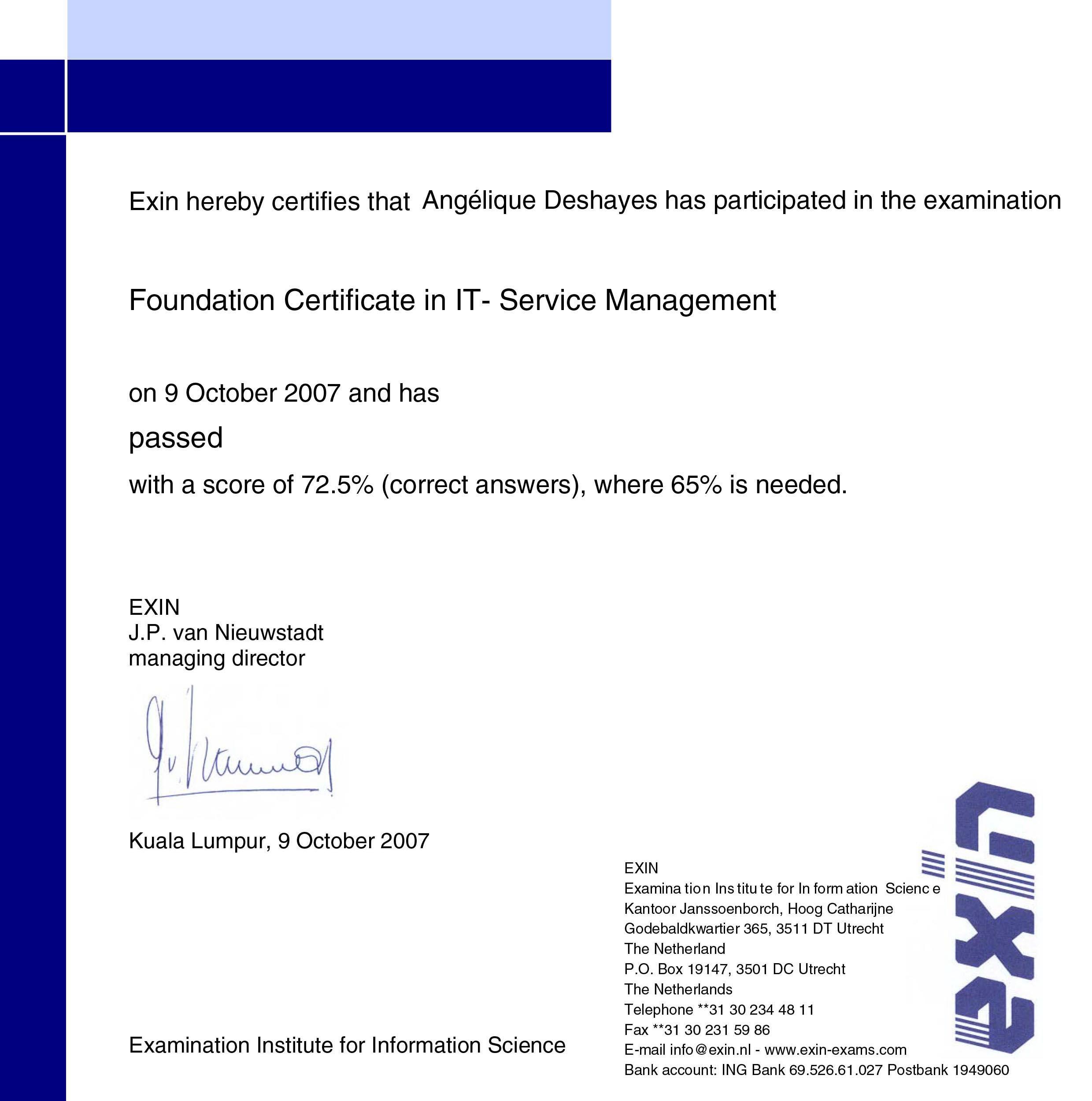 Certification ITIL