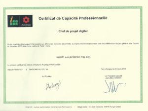 Certification de Capacité Professionnelle - Chef de Projet Digital