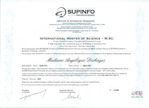 Diplôme ESI Sup'Info - Titre d'expert en informatique et système d'information