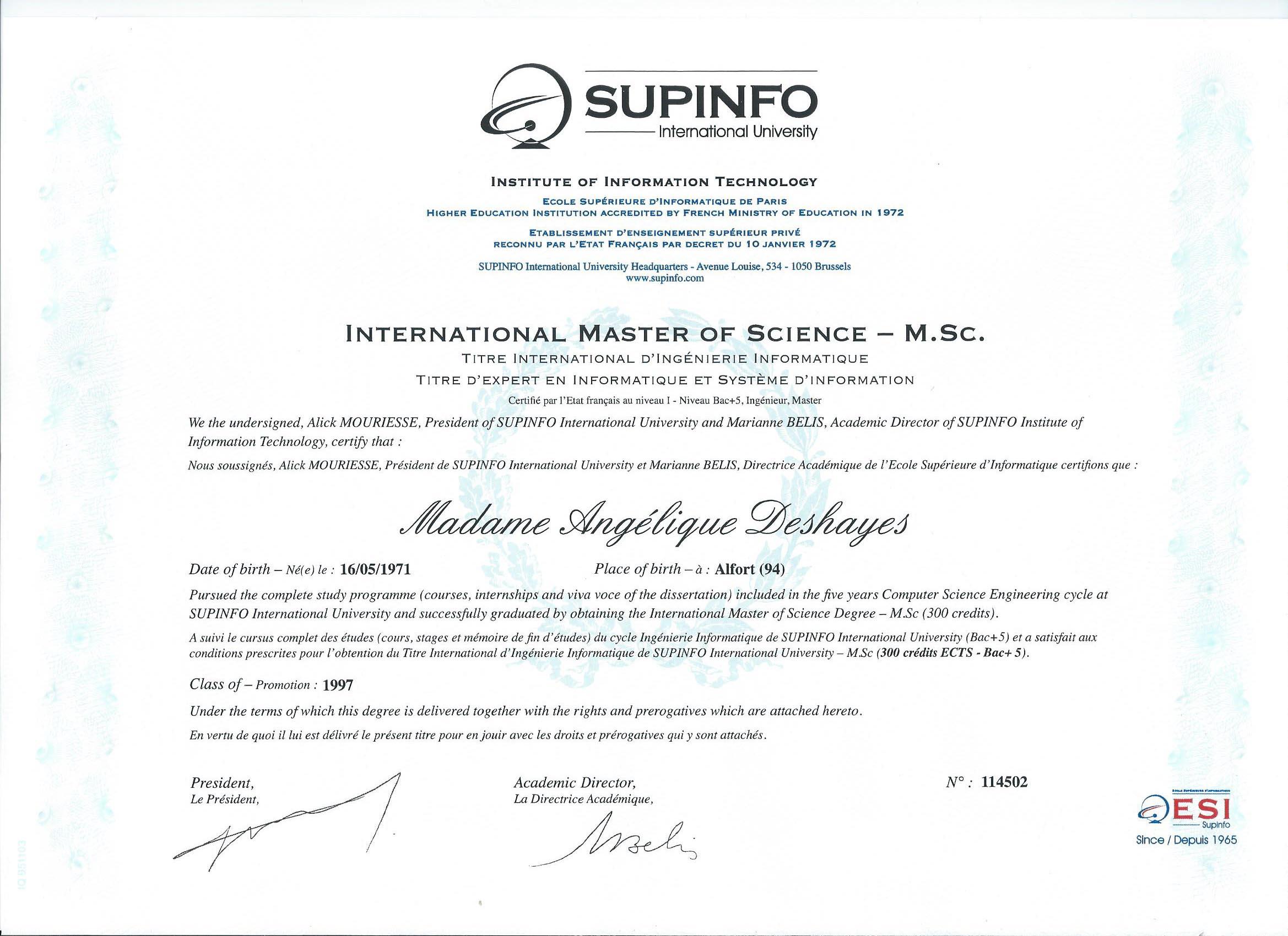 Diplôme d'ingénieur - Titre d'expert en informatique et système d'information (Master of Science)
