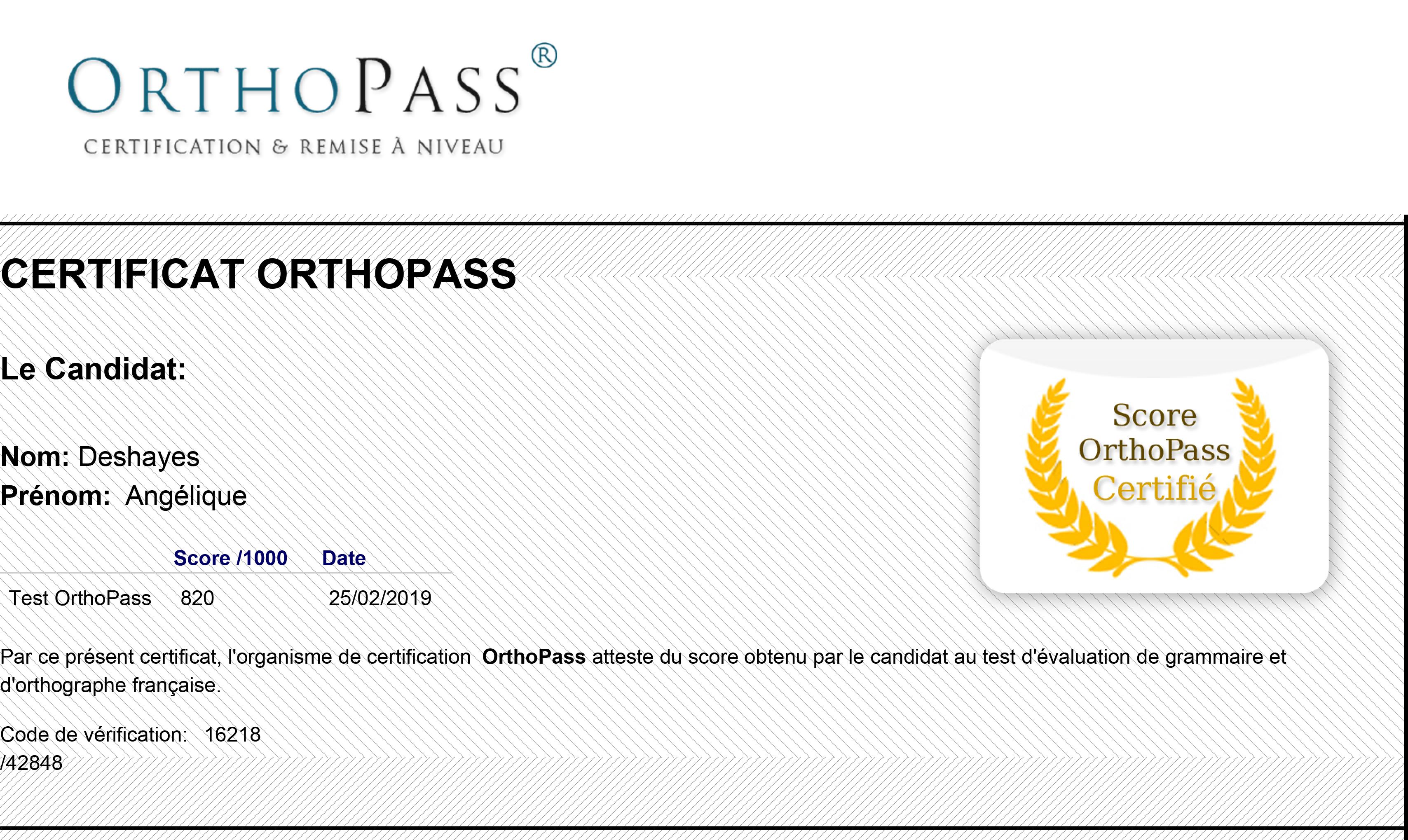 Certificat OrthoPass