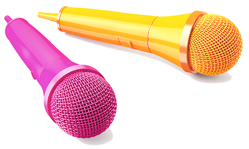micro chant rose et jaune