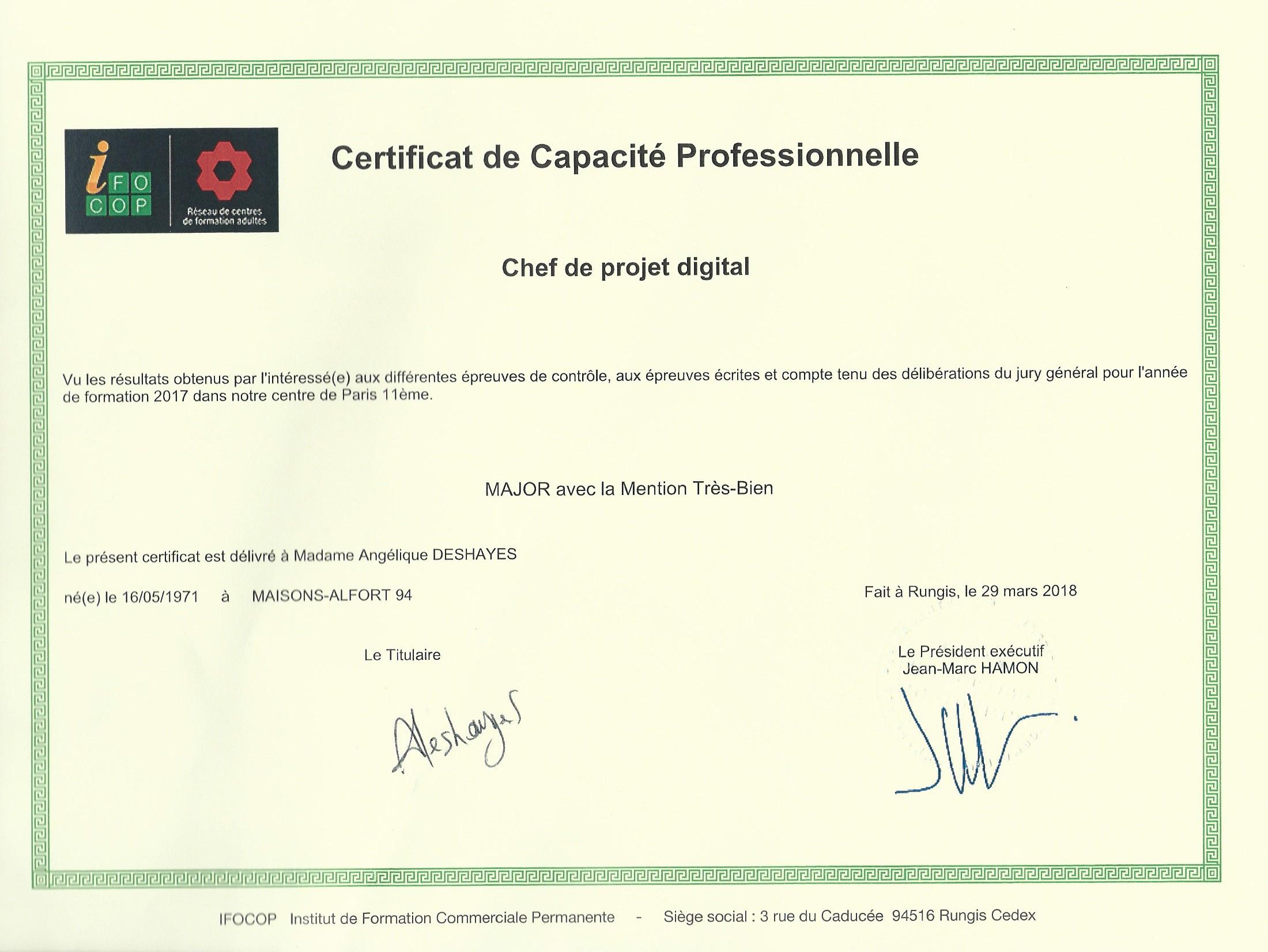 Certification de Capacité Professionnelle - CP Digital